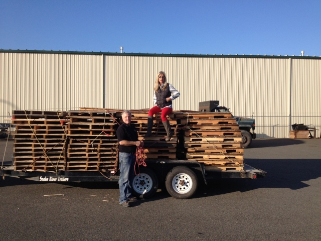 The yearly load of pallets to build all the Christmas Tree stands..done! Check this off list, lol!!